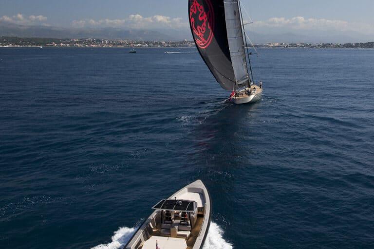 Super Yacht Dark Shadow tender in pursuit