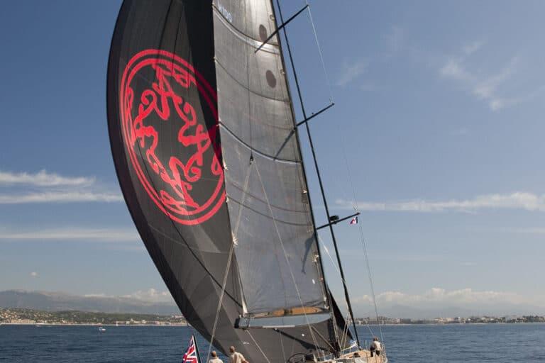 Super Yacht Dark Shadow sailing away