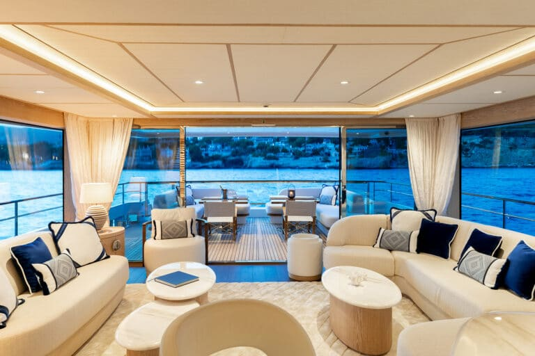 Motor Yacht Calypso Main Saloon to Aft Deck