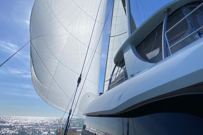 Luxury Catamaran GENNY - Sunreef 80 - sailing with spinacker
