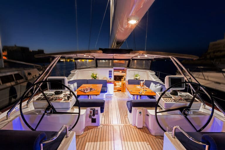 Luxury Sailing Yacht - Margaret Ann - Aft deck By Night