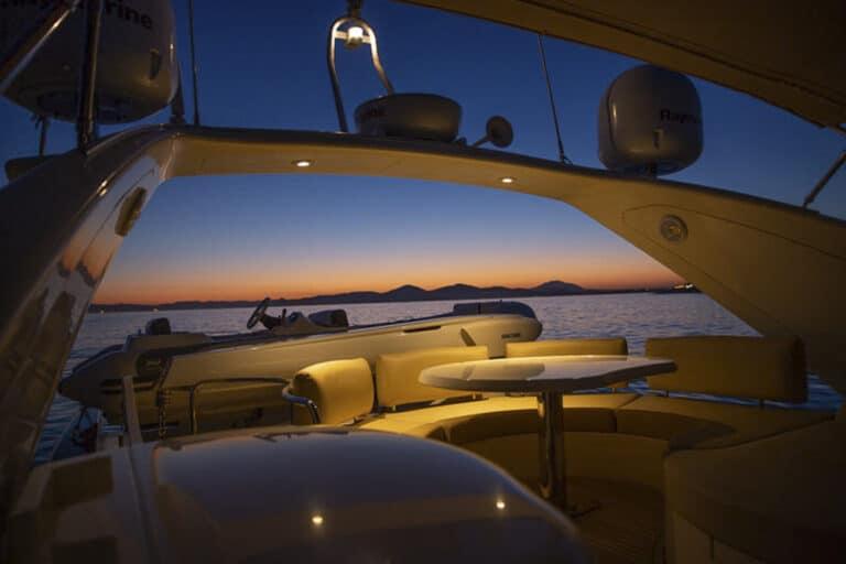Luxury Motor Yacht MEDUSA aft deck by night