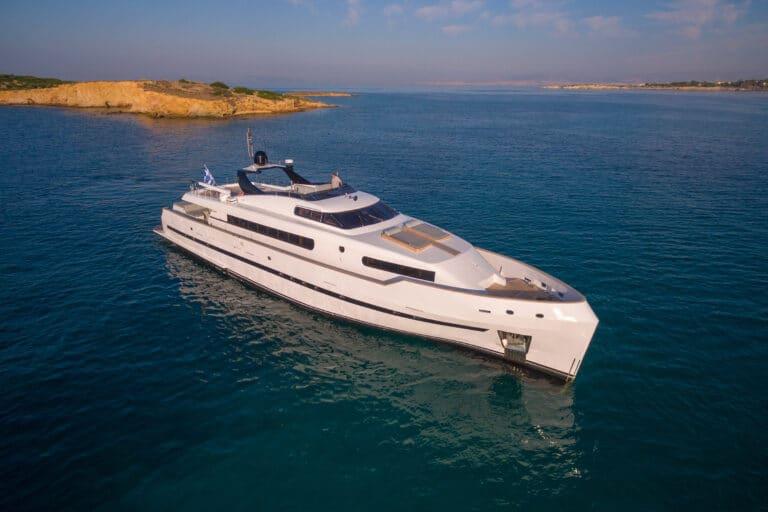 Luxury Motor Yacht PROJECT STEEL drone front