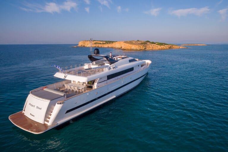 Luxury Motor Yacht PROJECT STEEL drone back