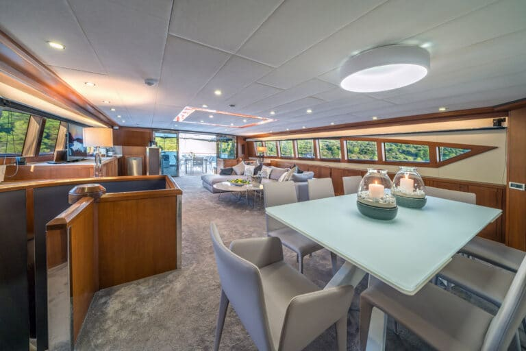 Luxury Motor Yacht SAN LIMI living from dining table