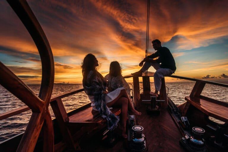 Luxury Yacht SEQUOIA enjoying sunset