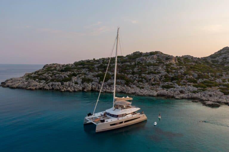 Luxury Catamaran Serenissima at anchor