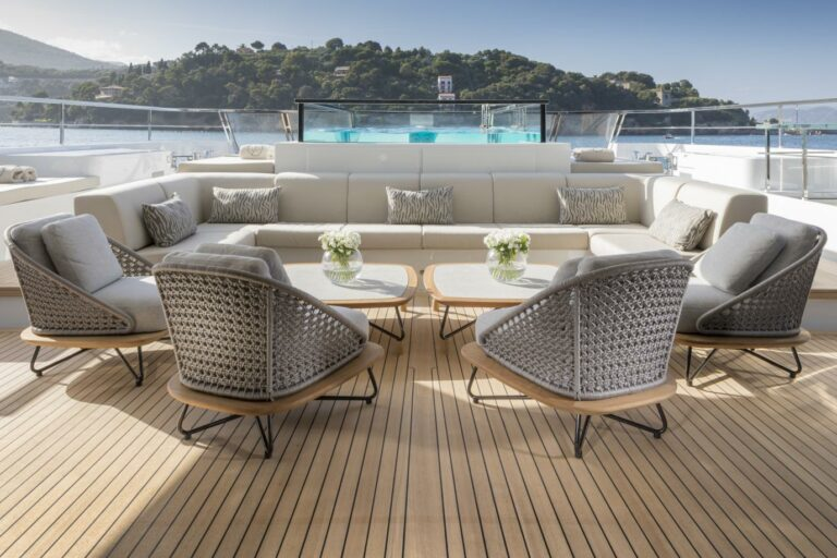 outdoor lounge charter relax comfortable seats outside pool on yacht SEVEN SINS San Lorenzo 52