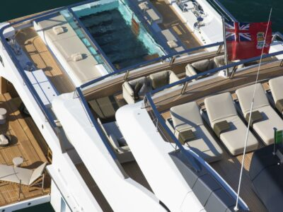 Helocopter view on SEVEN SINS charter yacht San Lorenzo new design swimming pool aft deck