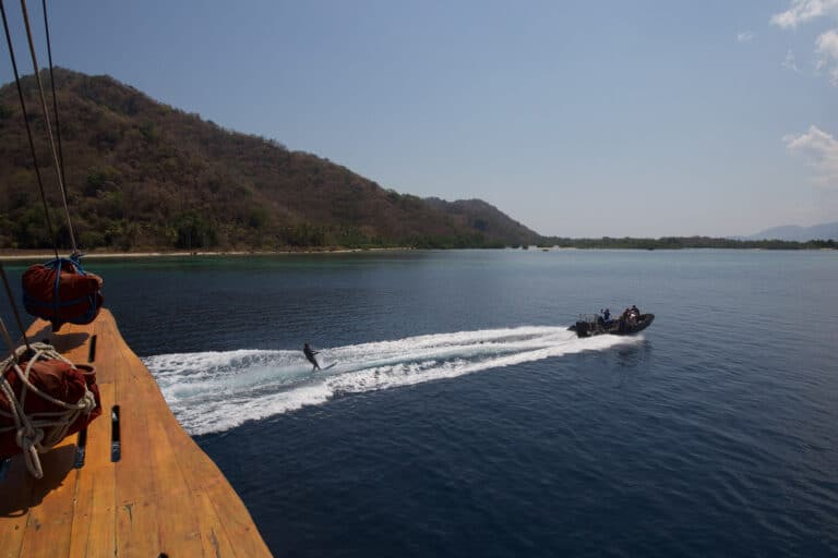 Luxury Phinisi Yacht TIGER BLUE waterskiing