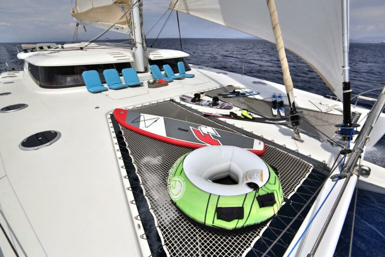 selection of watertoys on charter yacht WORLDS END in Athens area