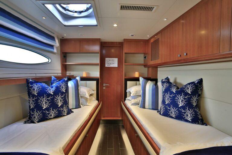 Twin cabin on charter catamaran in Cyclade Islands in Med