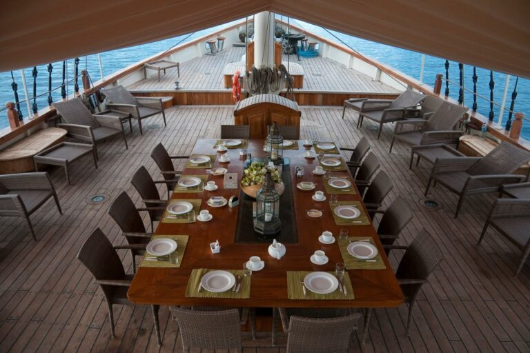 Outside Dining table on SY MUTIARA LAUT indonesia