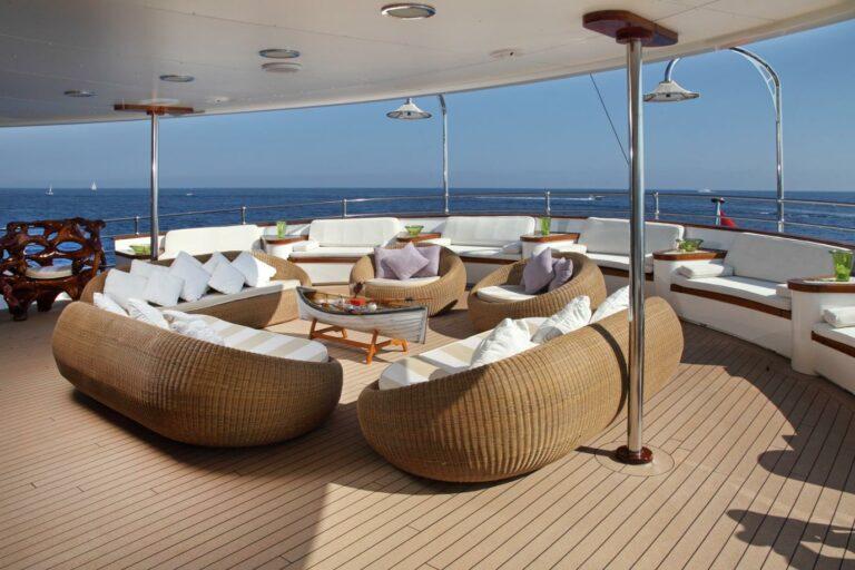 Lounge deck on MY SHERAKHAN charter explorer yacht