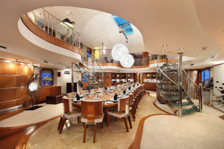 Dining table on board SHERAKHAN motor yacht for charter and sale