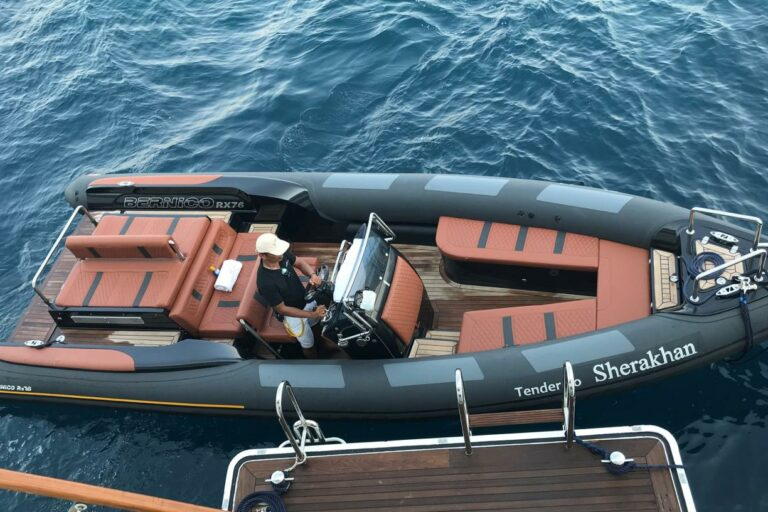 Tender to SHERAKHAN charter yacht in Antartica and other exclusive destinations worldwide