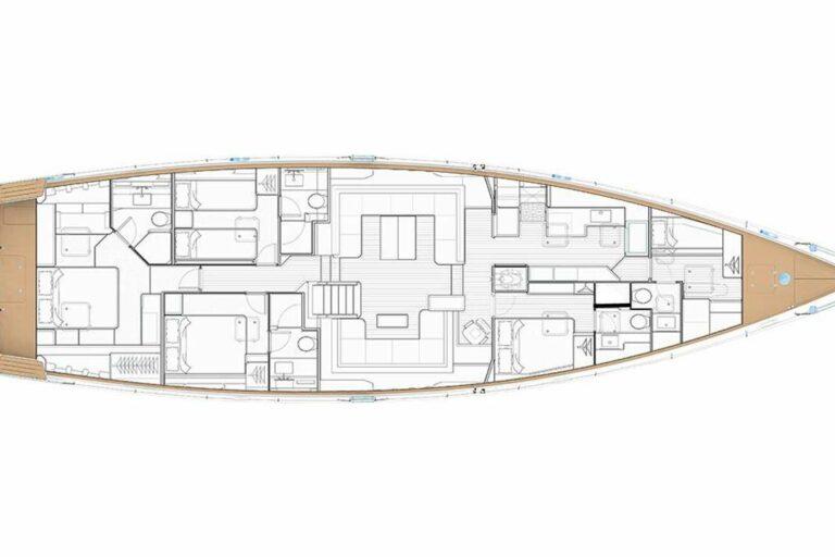Champagne Hippy Luxury Sailing Yacht - Layout